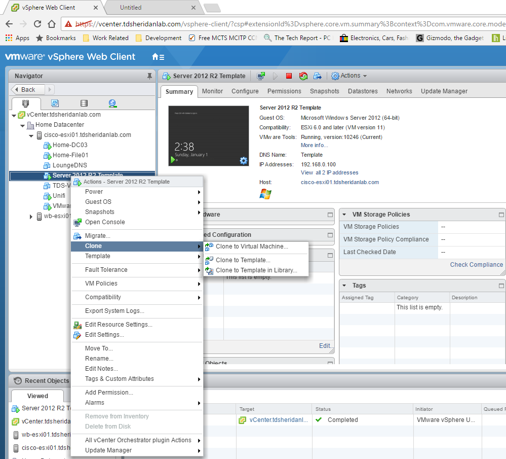 Creating VMWare Templates on vCenter 6.5 – TDSheridan Lab