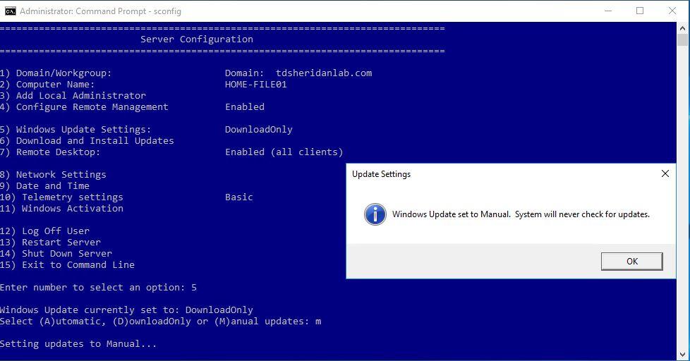 Disable Automatic Updates on Server 2016 – TDSheridan Lab