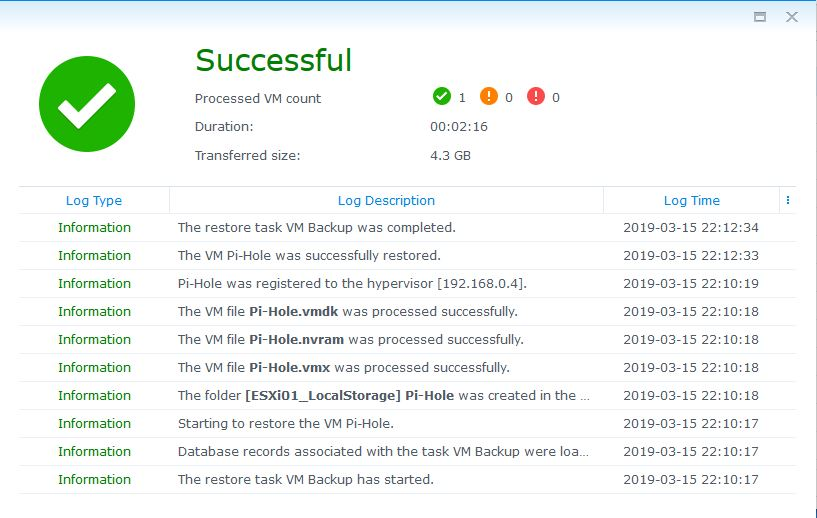 Now, Synology Active Backup CAN Restore on ESXi 6 7 Update 1